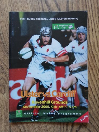 Ulster v Cardiff Oct 2000 European Cup Rugby Programme
