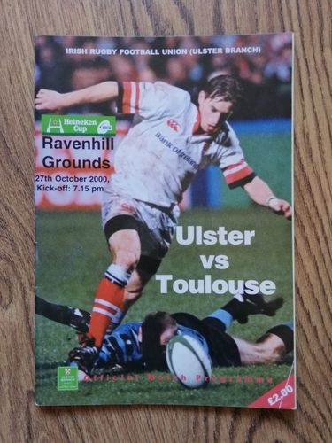 Ulster v Toulouse Oct 2000 European Cup Rugby Programme