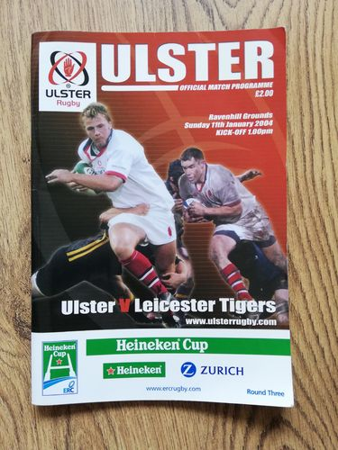 Ulster v Leicester Tigers Jan 2004 Heineken Cup Rugby Programme