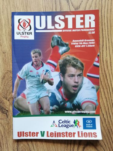 Ulster v Leinster Lions May 2004 Rugby Programme