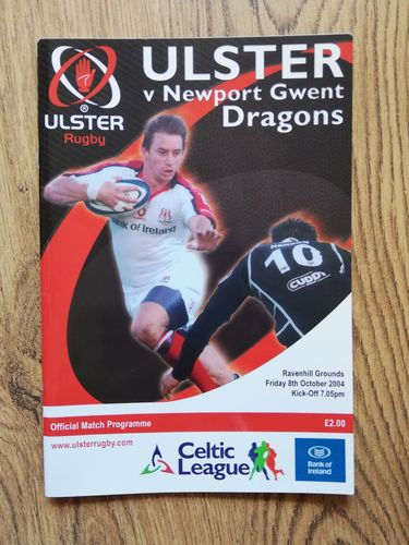 Ulster v Newport Gwent Dragons Oct 2004 Rugby Programme