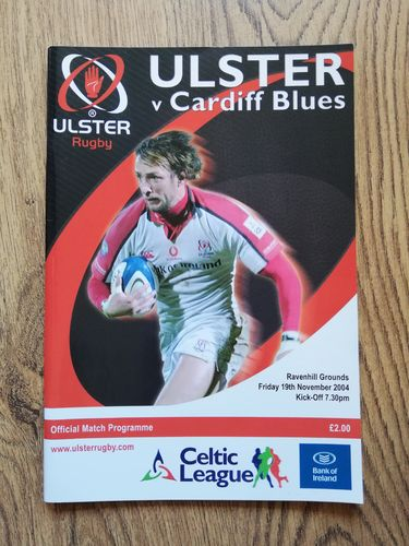 Ulster v Cardiff Blues Nov 2004 Rugby Programme