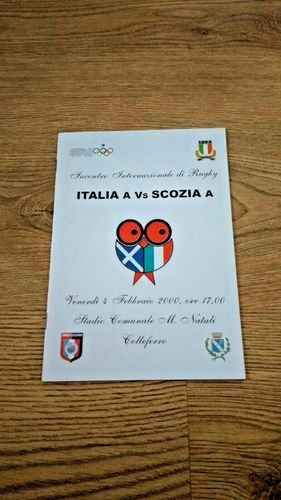 Italy A v Scotland A 2000 Rugby Programme