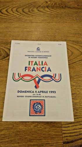 Italy v France 1993 Women's Rugby Union Programme