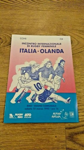 Italy v Holland 1993 Women's Rugby Union Programme