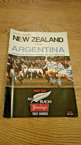 New Zealand v Argentina 1st Test 1989 Rugby Programme