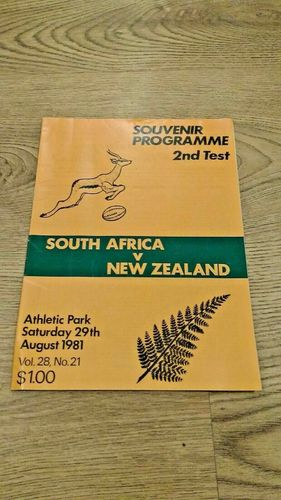New Zealand v South Africa 2nd Test 1981 Rugby Programme