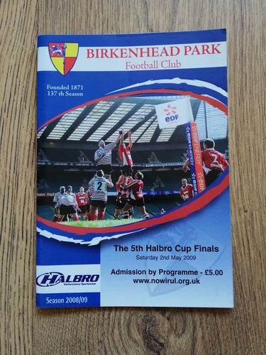 Preston Grasshoppers 2nds v Macclesfield 2nds 2009 Cup Final Rugby Programme