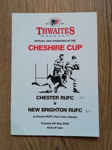 Chester v New Brighton May 2000 Cheshire Cup Final Rugby Programme