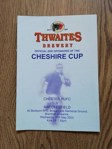 Chester v Macclesfield May 2003 Cheshire Cup Final Rugby Programme