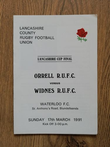Orrell v Widnes 1991 Lancashire Cup Final Rugby Programme
