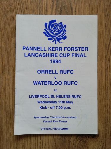 Orrell v Waterloo 1994 Lancashire Cup Final Rugby Programme