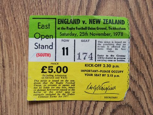 England v New Zealand 1978 Rugby Ticket