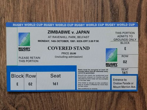 Zimbabwe v Japan 1991 Rugby World Cup Ticket