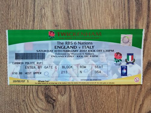England v Italy 2007 Rugby Ticket