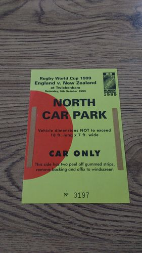 England v New Zealand 1999 Rugby World Cup Car Park Pass