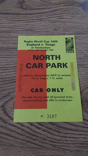 England v Tonga 1999 Rugby World Cup Car Park Pass