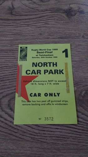 Australia v South Africa 1999 Rugby World Cup Semi-Final Car Park Pass