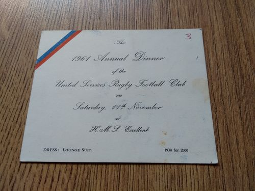 United Services RFC 1961 Annual Dinner Invitation Card