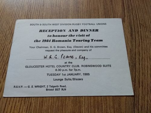 South & South West Division v Romania 1985 Dinner Invitation Card