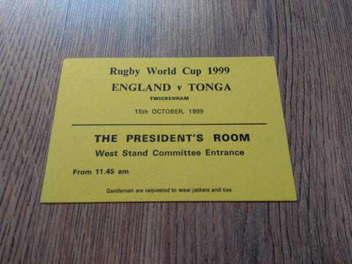 England v Tonga 1999 Rugby World Cup Hospitality Pass