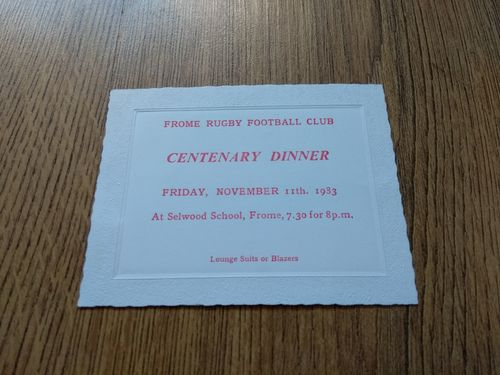 Frome Rugby Club 1983 Centenary Dinner Invitation Card