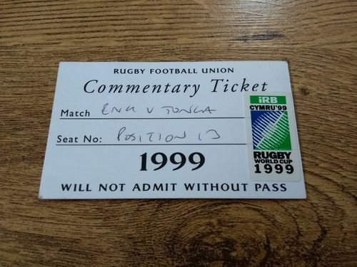 England v Tonga 1999 Rugby World Cup Commentary Ticket