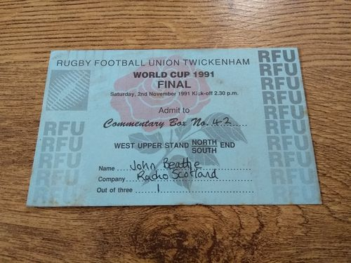 Australia v England 1991 Rugby World Cup Final Commentary Box Ticket
