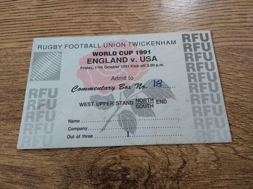 England v USA 1991 Rugby World Cup Commentary Box Ticket