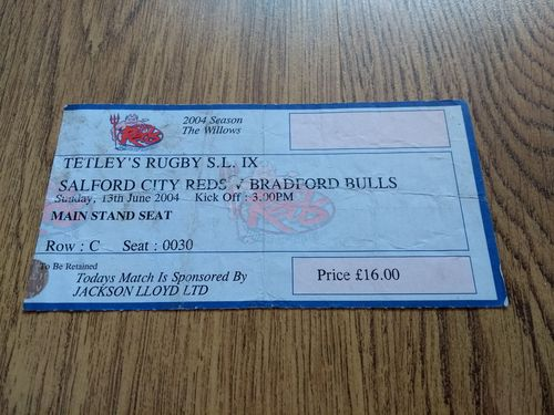 Salford City Reds v Bradford Bulls June 2004 Rugby League Ticket