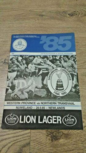 Western Province v Northern Transvaal 1985 Currie Cup Final Rugby Programme