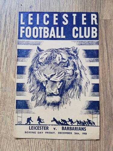 Leicester v Barbarians Dec 1958 Rugby Programme