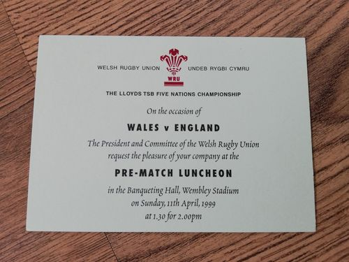 Wales v England 1999 Pre-Match Luncheon Invitation Card