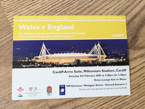 Wales v England 2005 Lunch Invitation Card