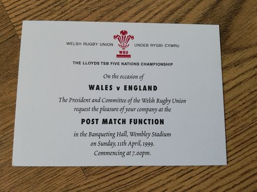 Wales v England 1999 Post-Match Function Invitation Card