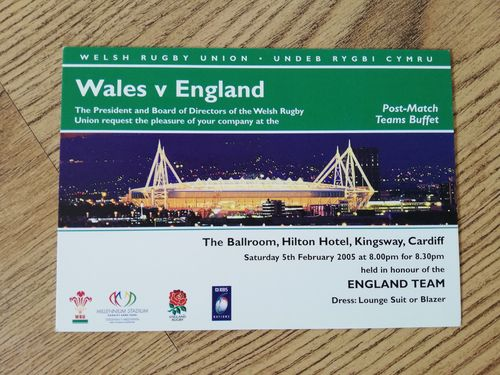 Wales v England 2005 Post-Match Teams Buffet Invitation Card