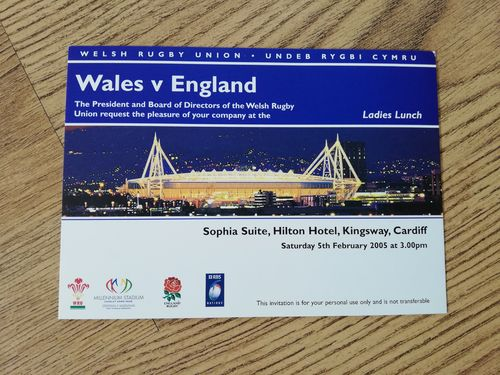 Wales v England 2005 Ladies Lunch Invitation Card