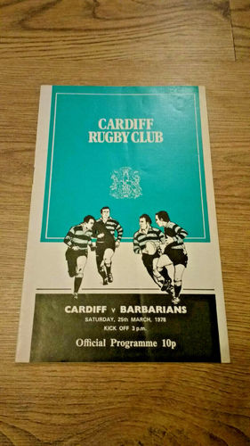 Cardiff v Barbarians Mar 1978 Rugby Programme