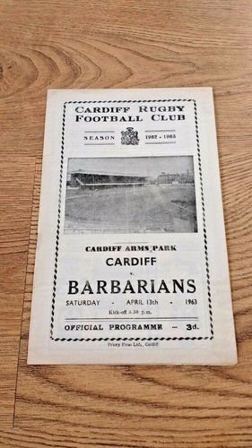 Cardiff v Barbarians Apr 1963 Rugby Programme