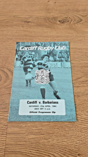 Cardiff v Barbarians Apr 1984 Rugby Programme