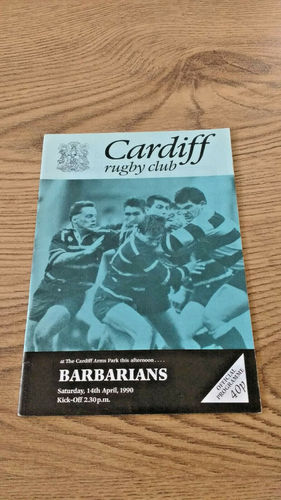 Cardiff v Barbarians Apr 1990 Rugby Programme