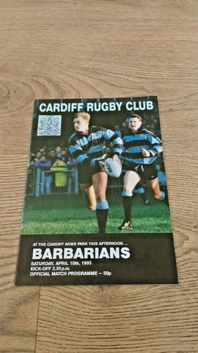 Cardiff v Barbarians Apr 1993 Rugby Programme
