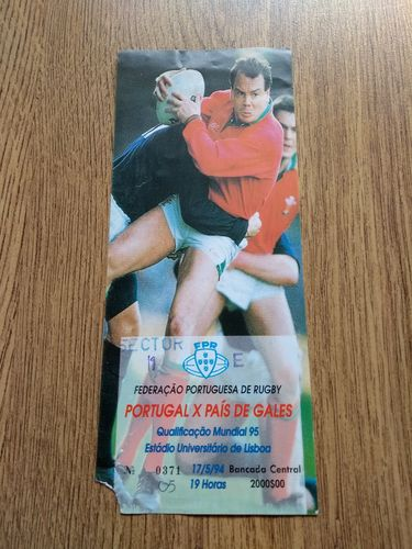 Portugal v Wales May 1994 Rugby World Cup Qualifying Ticket