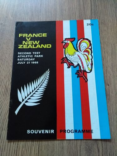 New Zealand v France 2nd Test 1968 Rugby Programme