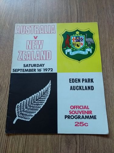 New Zealand v Australia 3rd Test 1972 Rugby Programme