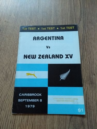 New Zealand v Argentina 1st Test 1979 Rugby Programme