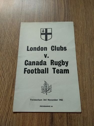 London Clubs v Canada Nov 1962 Rugby Programme