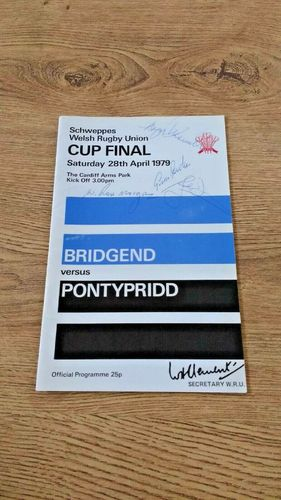 Bridgend v Pontypridd Apr 1979 Signed Welsh Cup Final Rugby Programme
